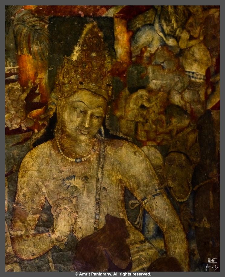 Padmapani, the most famous painting in Ajanta caves, Maharashtra, India.