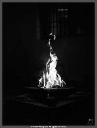 Holy fire during a ritual.